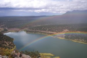 Pinon Campgrounds in New Mexico. Rainbow over campgrounds